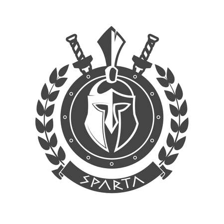 Military symbol, Spartan helmet in laurel wreath.