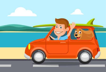 Voyager en voiture, la personne gaie qui conduit.
