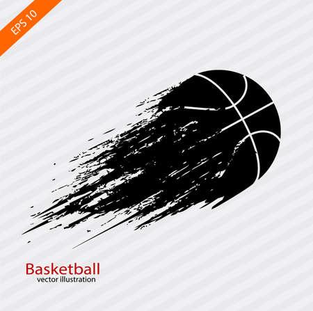 Símbolo de deportes la bola de vuelo la marca dejar un pincel en estilo grunge.