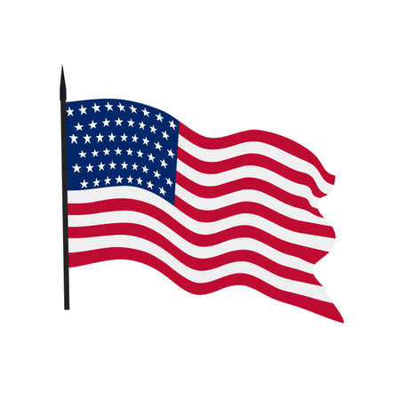The developing flag of the USA on a white background. Vektorové ilustrace