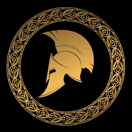 ギリシャ風ゴールド色の飾りのスパルタン ヘルメットのシンボルです。  イラスト・ベクター素材