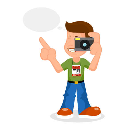 Cheerful reporter vectorial illustration. Illustration