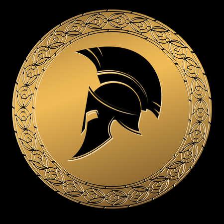 Simbolo un casco Spartano, un ornamento in colore oro greco. Vettoriali