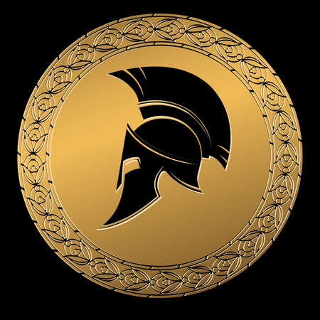 roman soldier: Symbol a Spartan helmet, an ornament in the Greek style gold color.