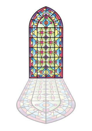 Gotische ramen. Vintage frames. Kerk gebrandschilderde ramen.