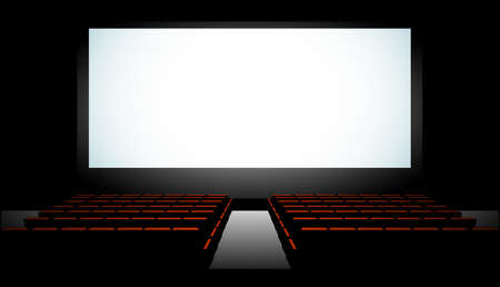 movie theater: Cinema auditorium with screen and seats, illustration. Illustration