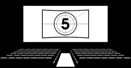 aisle: Cinema auditorium with screen and seats, illustration. Illustration