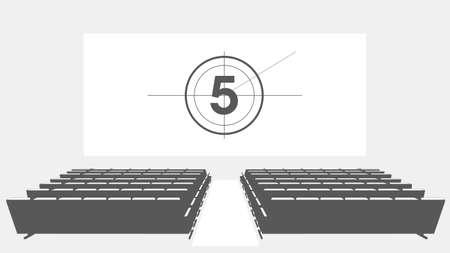 Cinema auditorium with screen and seats, illustration. Stock Illustratie