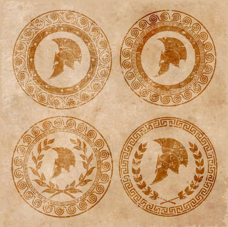 roman soldier: Spartan helmet an icon on old paper in style grunge, is issued in antique Greek style.