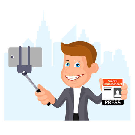 Journalist conducting streaming by the smartphone, a vector illustration.