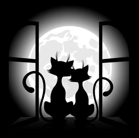 dating and romance: Cats against the background of the moon, a romantic meeting. Illustration