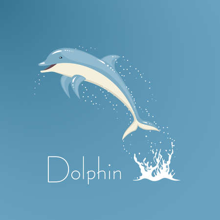 Dolphin who is jumping out of water a vectorial illustration.