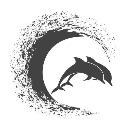 Pack of dolphins springing in waves, a monochrome icon.