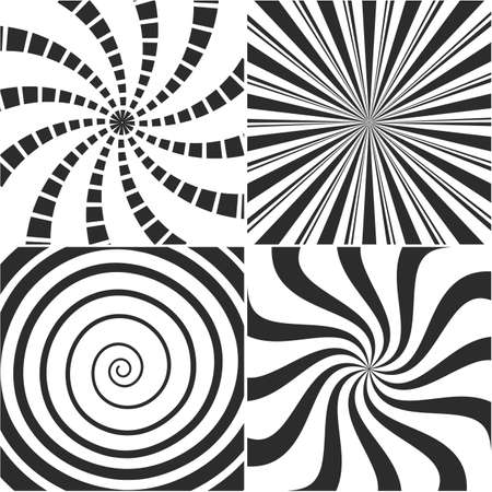 Abstract turbulences, psychedelic spiral, vortex backgrounds - vector set.