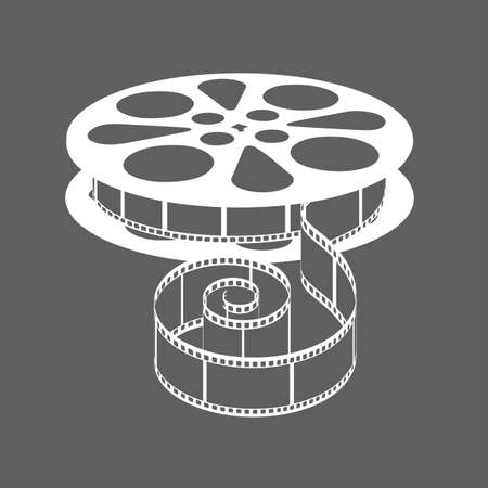 The coil with a movie film on a gray background. Illustration