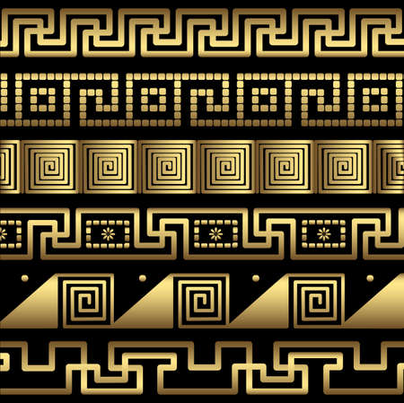 grecian: Ornament of gold color, patterns in antique style. Illustration