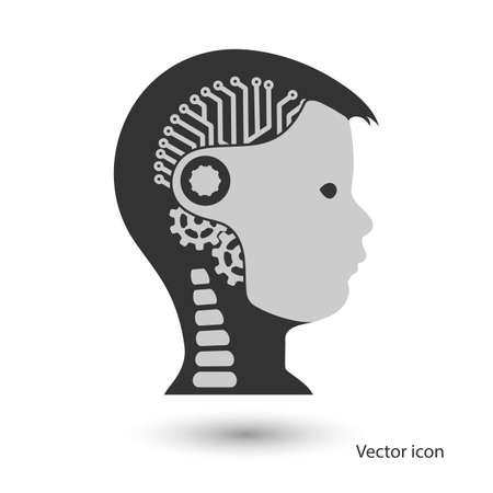 game over: icon robot cybernetic organism Illustration