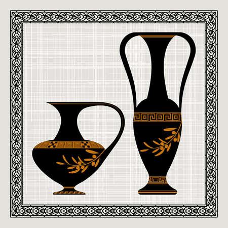 fret: Antique amphora on a canvas, vector illustration. Illustration