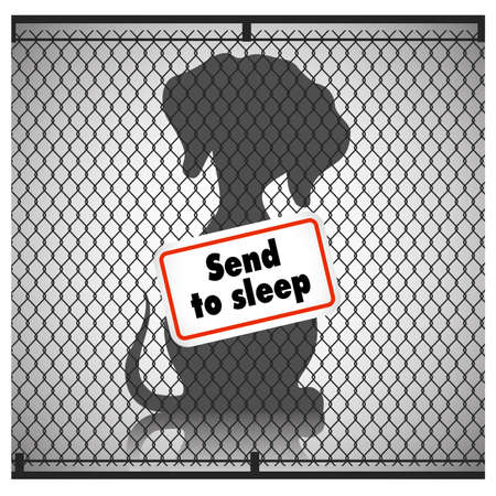 Silhouette of a dog in a cage with a sign put to sleep, the concept of animal protection. Vector illustration. Illustration
