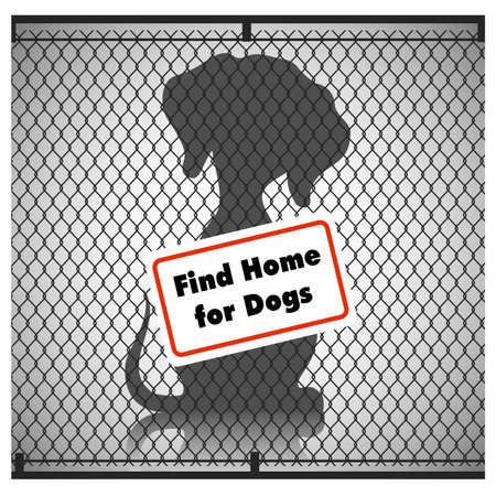 Silhouette of a dog in a cage with a sign. Vector illustration. Illustration