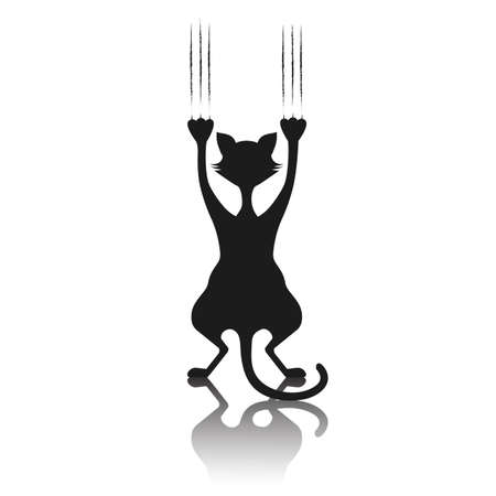 Comical silhouette of a cat the scratching background. Illustration