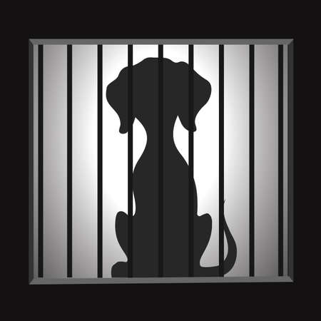 Silhouette of a dog in a cage.