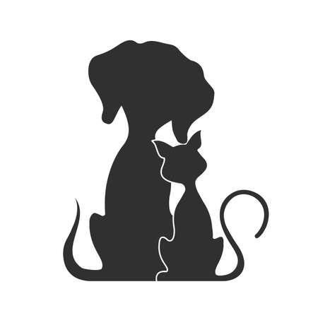 silueta de gato: Pets cat and dog, vector illustration.