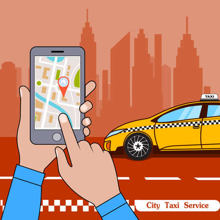 The smartphone with the application of services of a city taxi on ekrane.vector an illustration of smart concept of services taxi online. Ilustração