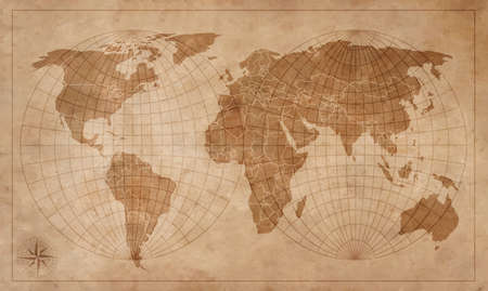World map on an old piece of paper. Illustration