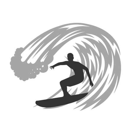 Surfer on wave vector illustration. 向量圖像