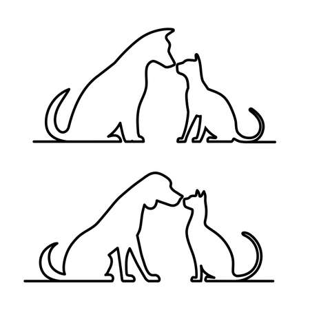 Dog and cat icon silhouette. Vector illustration.