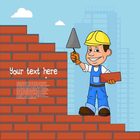 Cheerful builder vector illustration. Illustration