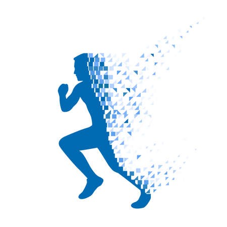 Running person collapsing on particles. Stock Illustratie