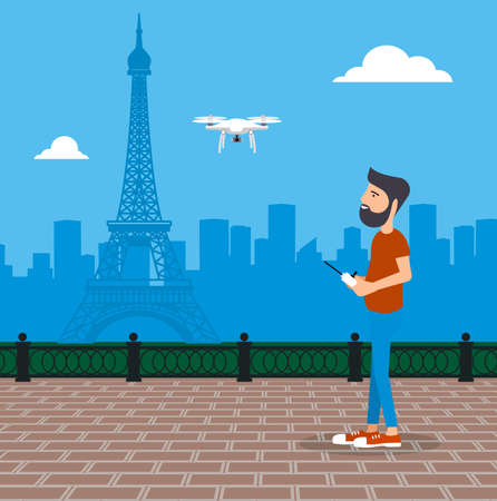 Man launches drone vector illustration.