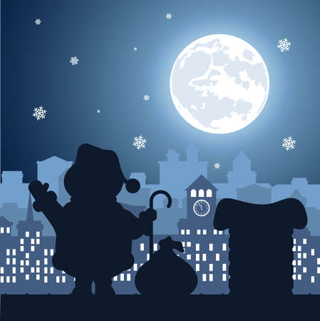 Santa Claus on a background of a nightly festive city.