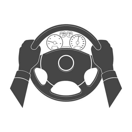 Hands hold the helm of car.