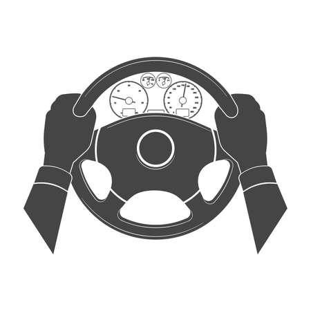 Ręce trzymają ster samochodu.