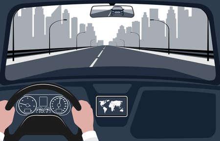 widok drogi od ilustracji wektorowych wnętrza samochodu.