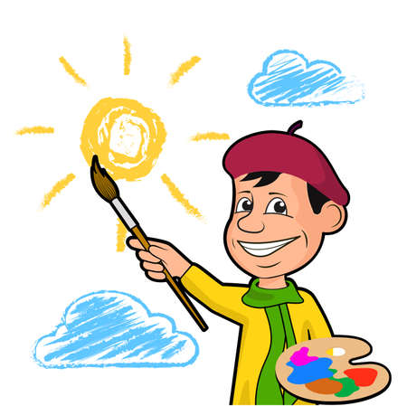 Cheerful artist draws the sun among the clouds.
