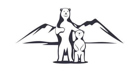 Polar bear mother with a baby.
