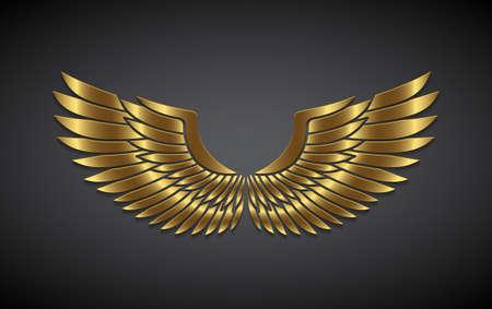 Skrzydła ze złota na szarym tle. Ilustracje wektorowe