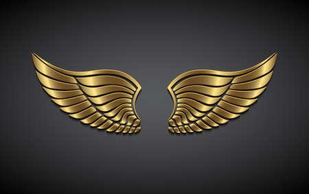 Vleugels van goud op een grijze achtergrond. Vector Illustratie