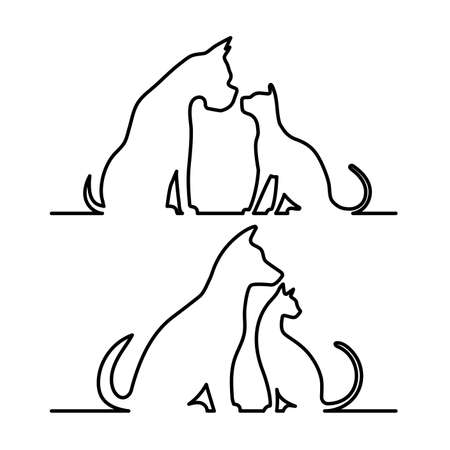 Dog and cat icon silhouette.