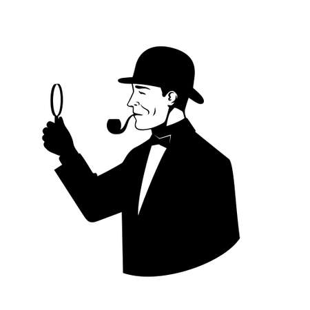 Icon of the detective with a magnifying glass. Vettoriali