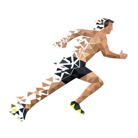Running man from decaying polygons. Illustration