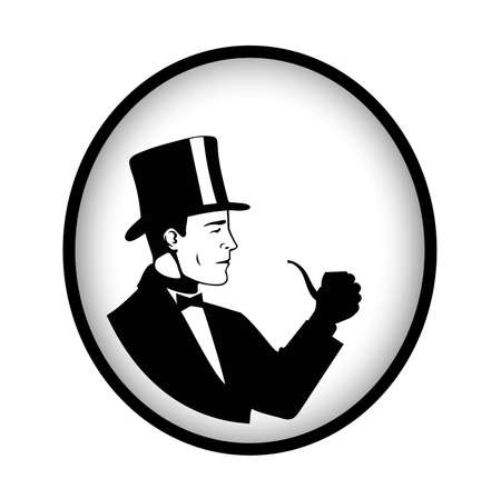 Icon of a gentleman with a pipe vector illustration Illustration