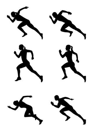 Silhouettes of sprinters set vector illustration Vettoriali