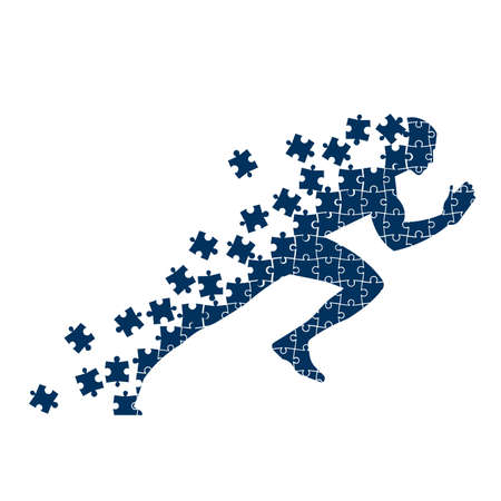 Running person from the collapsing puzzles illustration.