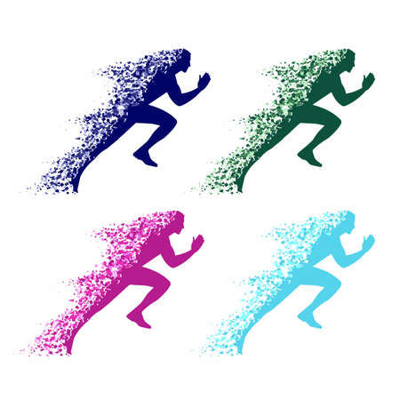 collapsing silhouette of the running athlete Illustration