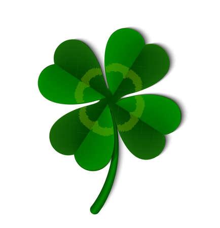 Blad van een klaversymbool van Ierland, vectorillustratie. Vector Illustratie